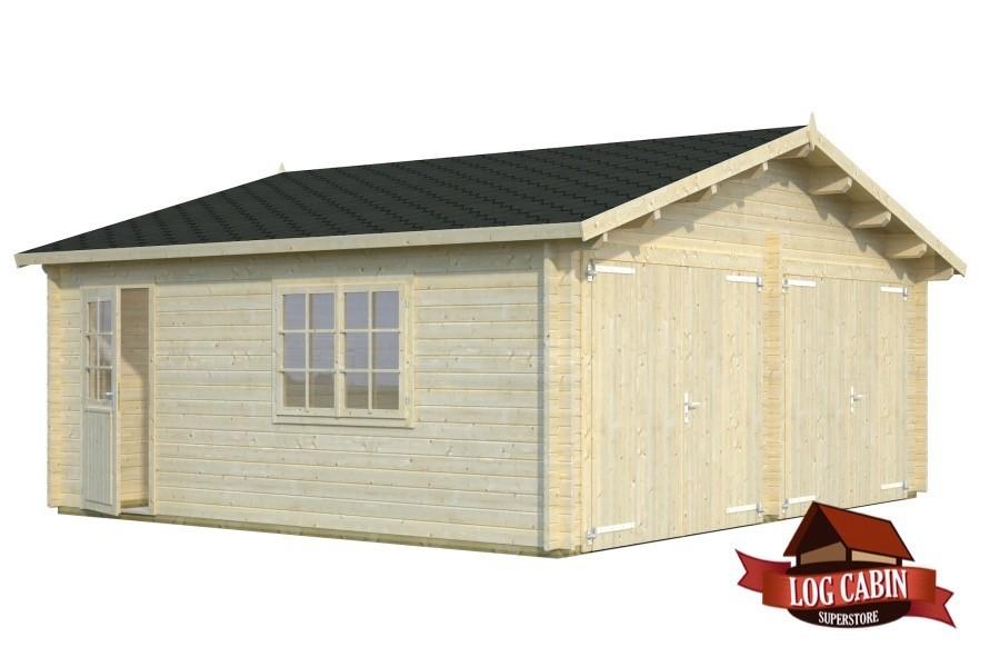 Garage Double Door 44mm Log Cabin Palmako Log Cabins